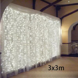 2019 luci della tenda di halloween 3x3 300 LED Stringhe per ghiaccioli led natale luci natalizie Luci per esterni per la casa / matrimonio / festa / tenda / giardino Deco luci della tenda di halloween economici