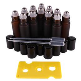 12pcs 10ml di olio essenziale di vetro glassato ambrato Roll on fiale delle bottiglie in acciaio inox a rulli a sfera per profumo da vasetti di spezia dell'acciaio inossidabile all'ingrosso fornitori