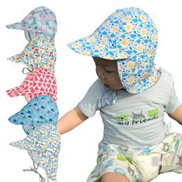 Wholesale ear dryer - Baby Kids Fisherman hat Summer Sun Visor Infant Floral Print Big Brim Caps Cute Cartoon Neck Ear Protection Hats Fast Dry Breathable BH128