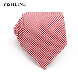 Wholesale Silk Neck Ties Xl - XT132 Fashion Red White Houndstooth 8CM 100% Silk Jacquard Woven Mens Ties Necktie Male Classic Wedding Business Party Neck Tie