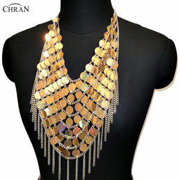 9533b5a8e23aa7 Chran Sexy Gold Sequins Beads Crop Top Chain Crystal Choker Necklace Halter  Bra Bralette Bikini Wear Party Festival Body Jewelry