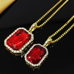 Wholesale Inlay Pendant - Alloy Inlaid with Crystal Pendant Gold Plated Zinc Alloy Pendant Necklace 70cm Box Chain Lady Jewelry