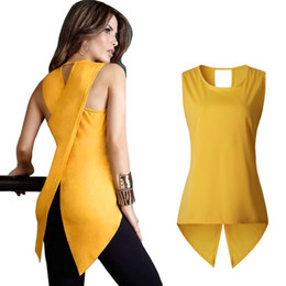 Wholesale Dovetail Shirts - LOSSKY 2017 Summer New Fashion T Shirt Women Back Cross Sexy Lady Sleeveless O-neck Slim Dovetail T-shirt Plus Size Long Tops