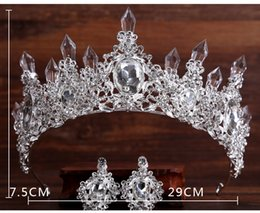 Wholesale Discount Wedding Hair Accessories - Tiara Eardrop Queen Three Colors crystal Tiara Crown Pageant Hair Accessories Bridal Headpiece Discount For Wedding Dresses Cheap