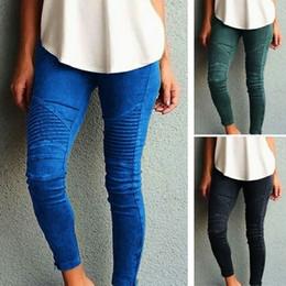 Wholesale army leggings - NEW 5 Color Women Casual Slim High Elastic Pencil Long Pants Leggings Blue Green Black XS-5XL