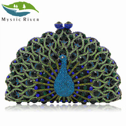 Wholesale river wedding - Mystic River Women Peacock Clutches Lady Evening Bags Female Wedding Clutches Purses Party Bag