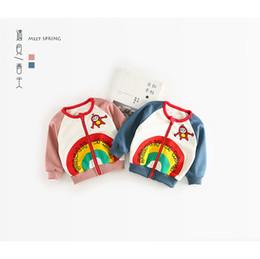 Wholesale Kids Baseball Jackets Girls - IN stock 2018 INS NEW ARRIVAL boys Girls Kids long Sleeve Rainbow cartoon baseball coat kids casual outwear cotton jackets 2 color