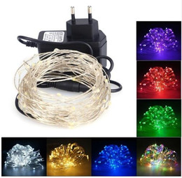 Wholesale Led Christmas Lights Power Adapter - 10M 100 LED String Light Copper Wire Fairy Light Christmas New Year Wedding Decoration Lamp with 12V 1A Power Adapter EU US Plug