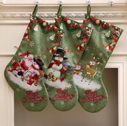 animal print decoração de natal Desconto Big Size Meias de Natal Impressão de Cor Verde 3 Padrões de Alta Qualidade Presente de Doces Meias de Natal Decoração Queda Enfeites