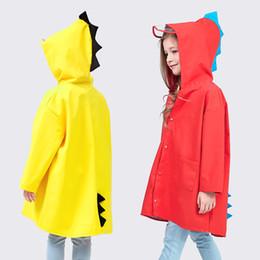 Impermeável chuva casacos meninos on-line-Bonito Dinossauro Poncho À Prova de Vento Menino E Menina Casaco de Chuva Ao Ar Livre À Prova D 'Água Impermeável Amarelo Vermelho Chegam Novas 20xw C