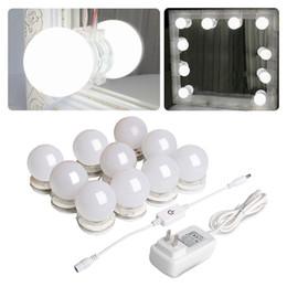 Adesivo de mesa on-line-Kit de Luz do Espelho de Hollywood com Lâmpadas de Luz Regulável para a Mesa de Molho de Maquiagem DIY LED Tira de Iluminação de Vaidade com Adesivo de Qualidade 10 Luzes