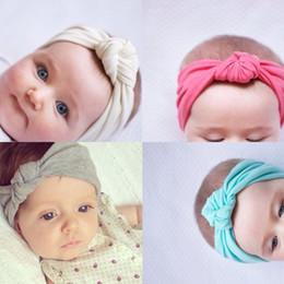pajarita azul marino oscuro Rebajas Bebé recién nacido de algodón vendas elásticas infantiles niños nudo diademas cintas para el cabello niños Headwear accesorios para el cabello