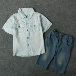 Wholesale Infant Denim Jeans - Kids boys denim shirt 2pc set blue short sleeve shirt+pants infants summer casual jeans outfits for 2-7T