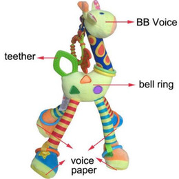 Wholesale Giraffe Teether - Quality deer plush toys bed baby mobile hanging baby rattle toy giraffe with bell ring infant teether Toys gift