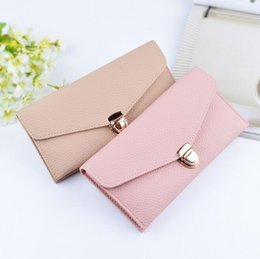 Wholesale Women Leather Pure Wallet - Factory wholesale brand bag Europe and pure color long purse lock litchi grain leather fashion women purse small pure and fresh leather wall