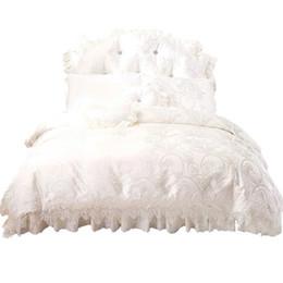 Wholesale Princess Quilt Set - 100% cotton bedding sets Korean white princess lace duvet cover Double King Queen size Bed set Lace Bedclothes quilts bed skirt Bed in a bag