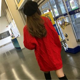 a8ac02fd1c7 2018 Autumn and winter round neck thick needle in the long twist large red  sweater lady thick knit loose dress