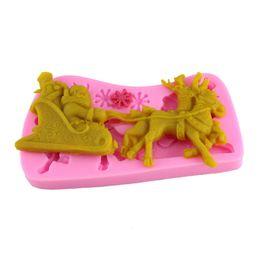 Canada Santa Claus traîneau de sucre de wapiti moule silicone outils de cuisson décoration de gâteau Offre
