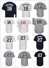 Wholesale Youth Baseball Jerseys - Custom Men's Women Youth #27 Giancarlo Stanton 18 Didi Gregorius New York Jersey Baseball Jerseys Stitched White Blue Grey size S-5XL