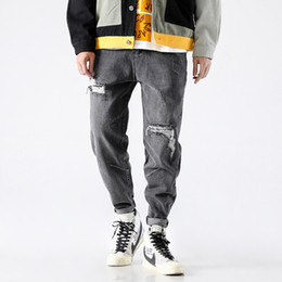 Свободные джинсы punk онлайн-Vintage Design Fashion Men's Jeans Black Gray Destroyed Ripped Jeans For Men Punk Style Tapered Pants Loose Fit Hip Hop