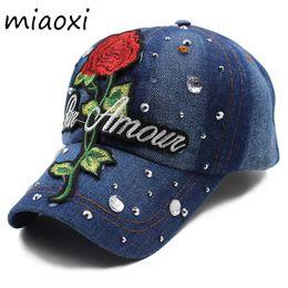 debed950052 miaoxi Top Sale Women Summer Baseball Caps Girls Cap Hats Floral Rose  Adjustable Cotton Snapback Hip Hop Bonnet Fur Brand Cap
