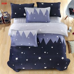 Wholesale King Fleece Sheet Set - Home textile blue star bedding set whale cat king queen Winter warm flannel fleece duvet cover soft bed sheet adult kids bedding