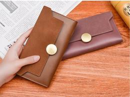 Wholesale buckle clutch - Women Round Metal Buckle Wallet Nubuck Fashion Long Purse Leather Clutch Card Holder Coin Purse LJJA16