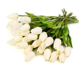 2019 fiori di tulipano artificiale Wedding FENGRISE 10 30PCS PU Mini Tulip Real Touch Flowers Fiore artificiale per bouquet da sposa Ghirlande di fiori decorativi per matrimoni sconti fiori di tulipano artificiale