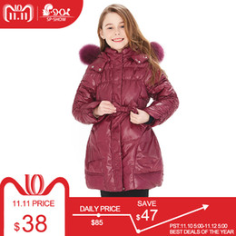 2019 женские пальто BUY 1 COAT GET 1 FREE SCARF -30 degrees SP-SHOW Winter 90% White down long coat nature fur hat New children's clothing girls скидка женские пальто