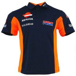 Спортивная рубашка-поло онлайн-MotoGP HRC\газ Repsol дизайн Поло футболка мотоциклист повседневная хлопок короткие поло футболки GP рубашки спортивная езда поло Велоспорт футболки