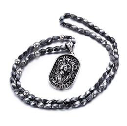 Африканский шкентель головки онлайн-Панк из нержавеющей стали Львиная голова Ожерелье для мужчин африканский серый железный камень бусины 75 см длинное ожерелье старинные аксессуары