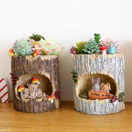 decorazioni dell'albero di bonsai Sconti 1Pc Creativo Casa sull'albero Animali in resina Fioriere Pianta grassa Vasi Micro-paesaggio Fata Decorazione del giardino Fioriera bonsai