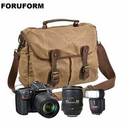 bolsa de cámara dslr Rebajas Lona a prueba de agua Vintage DSLR SLR Camera Shoulder Bag Bolso de mensajero de cuero de la lona de los hombres de la vendimia para Canon para Nikon LI-2290
