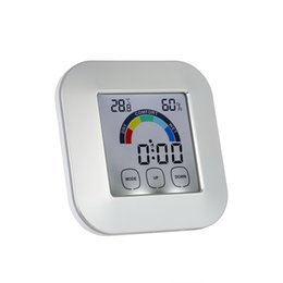 Wholesale Indoor Timers - Digital Thermometer Timer Touchscreen LCD Alarm Clock Indoor Thermometer Hygrometer with Max. Min. Value Comfort Level Display