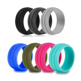 Wholesale Anniversary Bag - 8MM Size 6-12 Hypoallergenic Crossfit Flexible Rubber Silicone Ring Finger Rings For Men Women Wedding Gift With Velveteen Bag