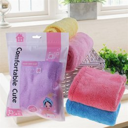 Wholesale super absorbent hair towels - Women Bathroom Super Magic Absorbent Quick drying Microfiber Cotton Bath Towel Hair Dry Cap Salon Towel