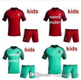 Wholesale Portugal Xl Soccer Jersey - Portugal Kids kits soccer Jerseys 16 17 RONALDO home Red away Green NANI QUARESMA GUERREIRO Portugal child football shirt 2017