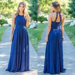 abiti da damigella d'onore chiffoni lunghi blu navy Sconti Royal Blue Chiffon Country Plus Size Abiti da damigella d'onore 2019 Lungo bordo in pizzo Halter Neck Beach Bridesmaids Dress Wedding Guest Gowns