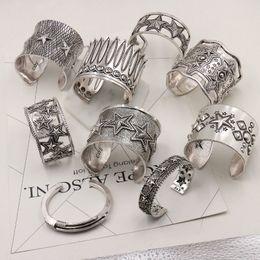Étnica vintage pulseira de prata on-line-Declaração banhado Punk Vintage Prata Feather Bangles Geometric ocas Estrelas Carve Cuff Bracelet jóias amor Bijoux étnico