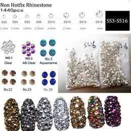 1440pcs / Pack Acquamarina, Sapphire Flatback Nail con strass SS3 ~ SS16 Decorazione unghie artistiche Pietre Gemme lucenti Accessori per manicure da
