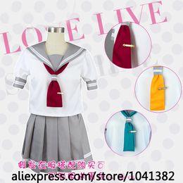 Wholesale Anime School Uniform - Anime Love Live Sunshine!! Aqours Cute Sailor Suit Cosplay Costum Summer School Uniform Lolita clothes+skirt+tie+tie clips+socks