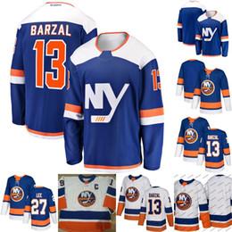 Hombres 13 Mathew Barzal Jersey New York Islanders 27 Anders Lee 100%  camisetas de hockey cosidas Blanco Azul Envío rápido envío de nueva york  baratos ad6d05517cbff
