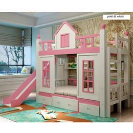Ropa de cama princesa moderna online-0128TB006 Niños modernos muebles de dormitorio princesa castillo con portaobjetos de diapositivas armario escaleras doble cama de niños