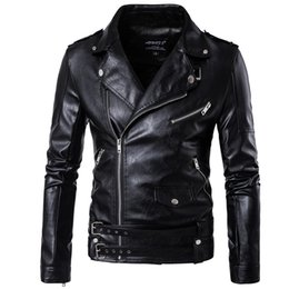 Wholesale Leather Belt Jacket Men - Wholesale- M-5XL Men top black color casual leather clothes zipper and belt decorate autumn and winter coat Zipper wristband Leather jacket
