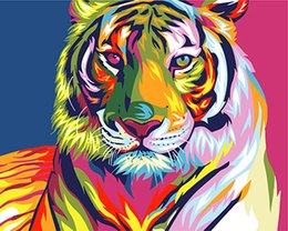 Wholesale Tiger Abstract Canvas - Digital Diy oil painting by numbers snow tiger wall decor picture on canvas oil paint coloring by number drawing animals