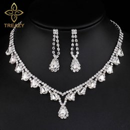 Wholesale Teardrop Choker Necklace - TREAZY Fashion Crystal Bridal Jewelry Sets Teardrops Design Choker Necklace Earrings Wedding Party Jewelry Sets for for Women