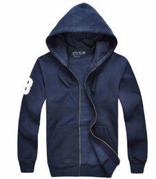 Polo hoodie uomini online-Trasporto libero! Polo degli uomini di marca all'ingrosso Felpe con cappuccio e felpe autunno inverno grande hoodies degli uomini della giacca sportiva del cavallo 100% cotone