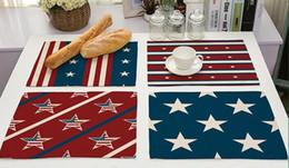 Latas de bandera online-El mantel individual del estilo de la bandera de Estados Unidos El estera caliente de la tabla del arte del algodón y del lino de la venta 9 estilos puede elegir