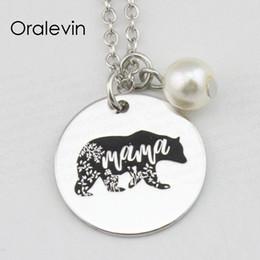 медведь марки Скидка MAMA BEAR Inspirational Hand Stamped Engraved Charm Круглые подвесные ювелирные изделия из ожерелья с цепочкой, 18 дюймов, 22 мм, 10шт / лот, # LN2359