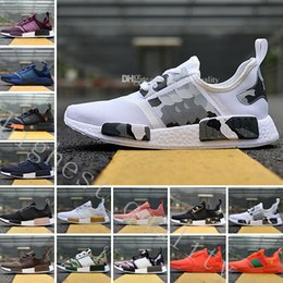 Wholesale Cheap Fashion Sneakers Men - Cheap New NMD R1 Monochrome Mesh Triple White Black Red Blue Men Women Running Shoes Sneakers Fashion NMD Runner Primeknit Camouflage Shoes